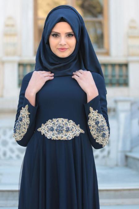 Photo of Tesettürlü Abiye Elbise – Kolları Boncuk İşlemeli Lacivert Tesettür Abiye Elbise 2285L – Tesetturisland.com