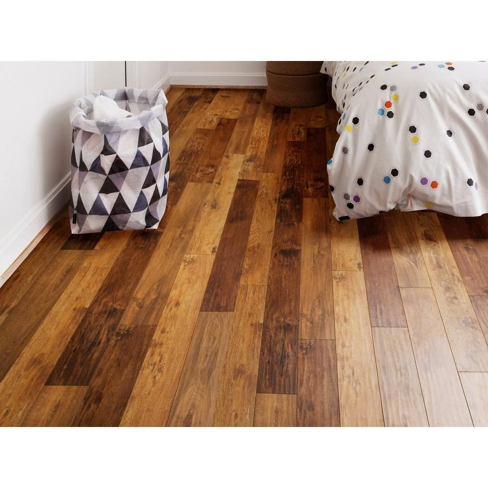 Types Of Kitchen Flooring Ideas: AquaGuard Mixed Blonde Hand Scraped Water-Resistant