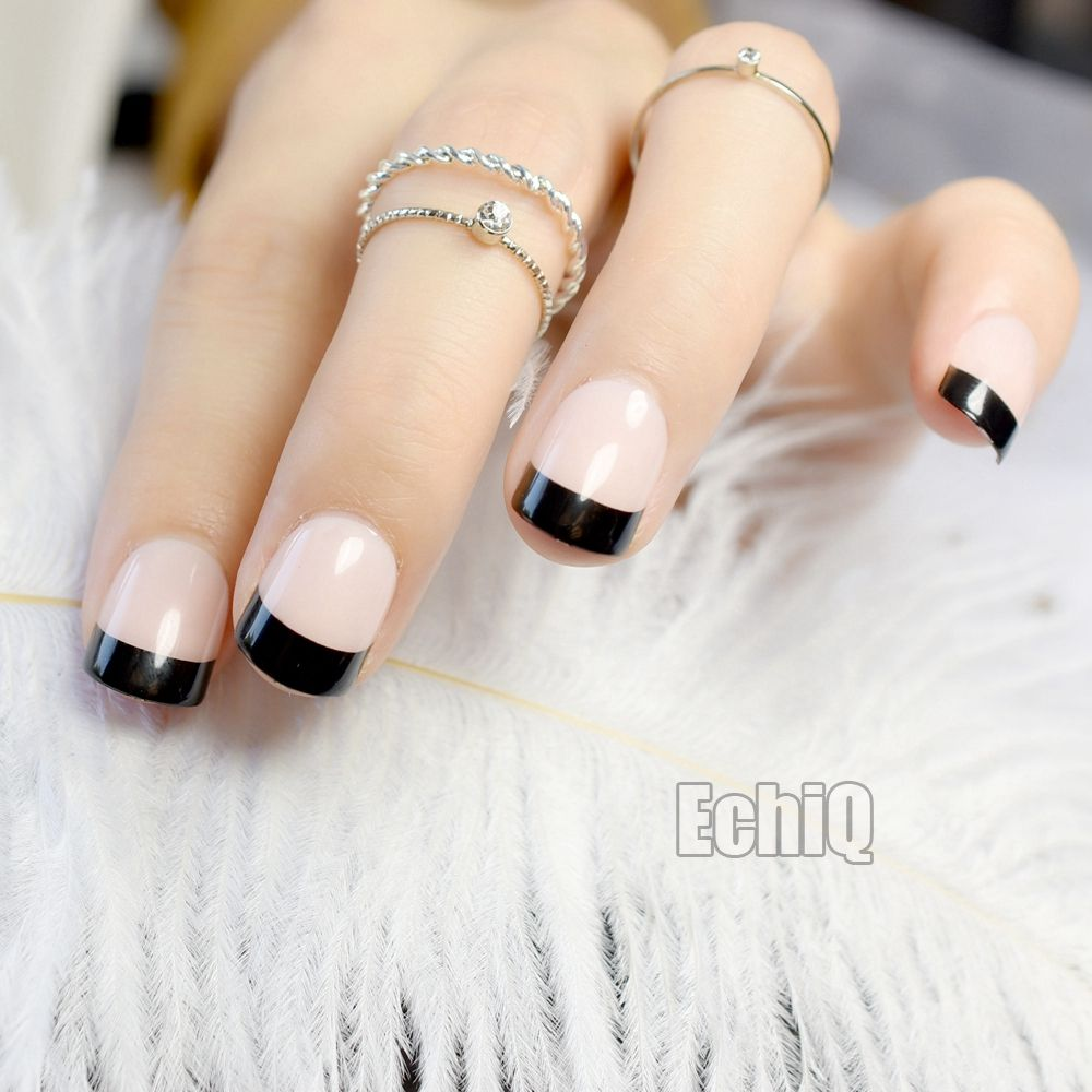 Short Natural French Nail Black Tip Beige Round Fake Nails for ...