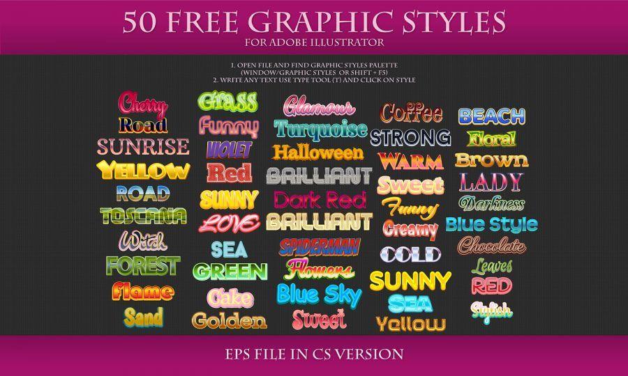50 Free Styles For Adobe Illustrator Photoshop Styles Adobe Illustrator Illustrator Resources