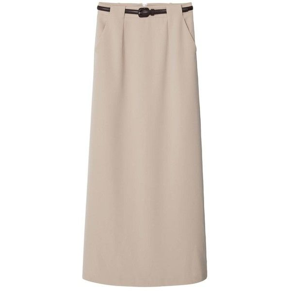 Belt Long Skirt (£60) ❤ liked on Polyvore featuring skirts, beige skirt, long skirts, beige maxi skirt, maxi skirt and long beige skirt