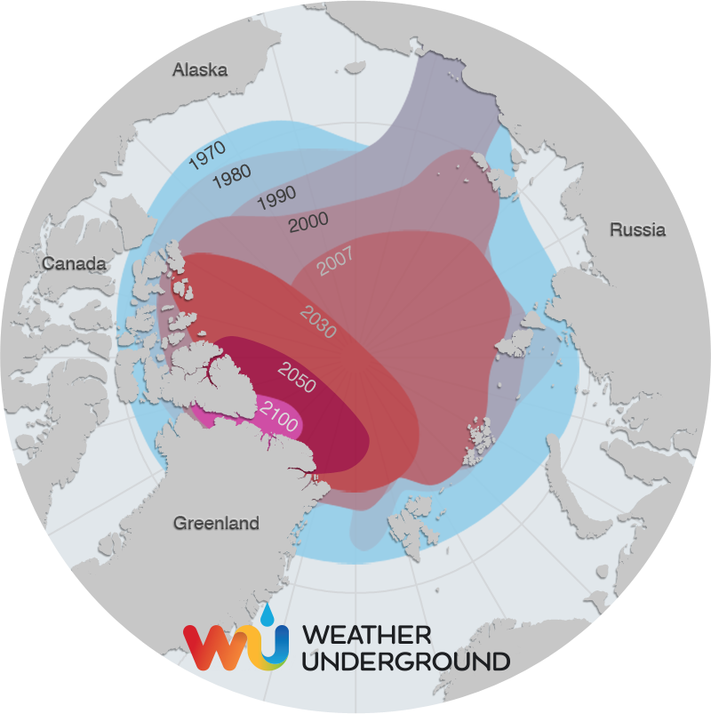 Image result for map of ice Arctic ice melt