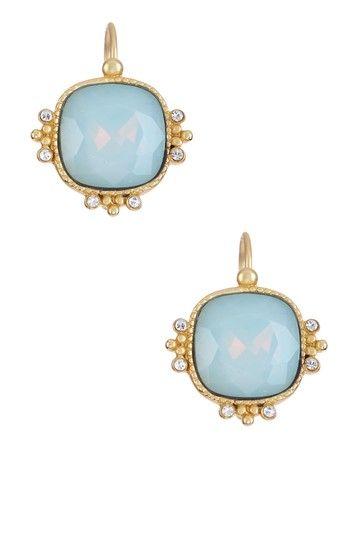Moon Stone Cushion Drop Earrings