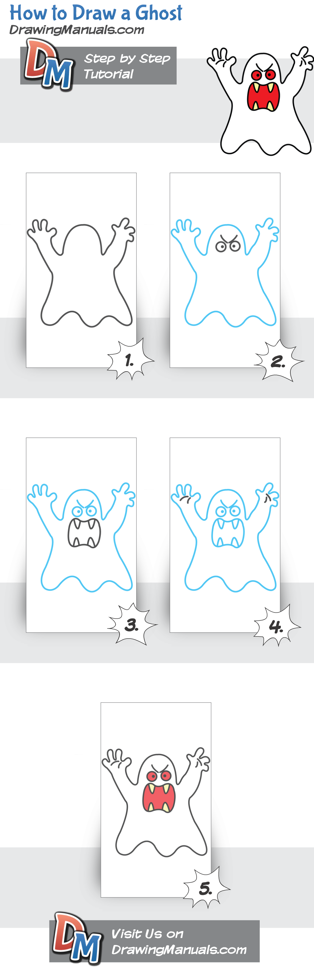 How to Draw a Ghost, drawing tutorial for artists and beginners http://drawingmanuals.com/manual/how-to-draw-a-ghost/