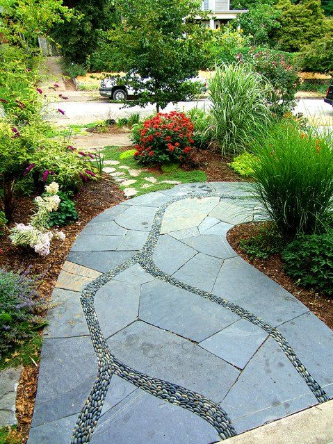 Slate tile pathways pebble ornamental grass path for Stone path in grass