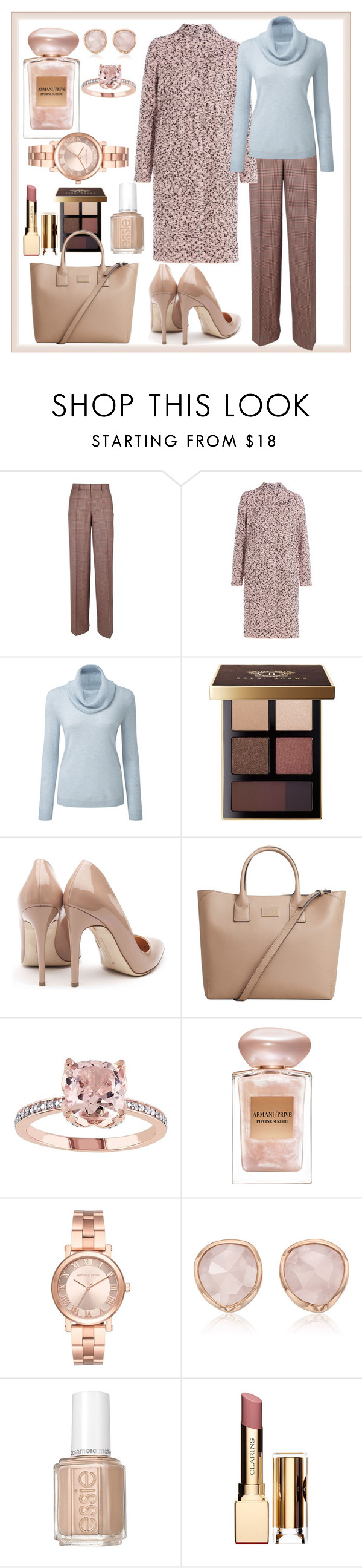 """""""rose blue office"""" by glamheartcafe ❤ liked on Polyvore featuring Dries Van Noten, M Missoni, Bobbi Brown Cosmetics, Rupert Sanderson, MANGO, Giorgio Armani, Michael Kors, Monica Vinader, Essie and Clarins"""