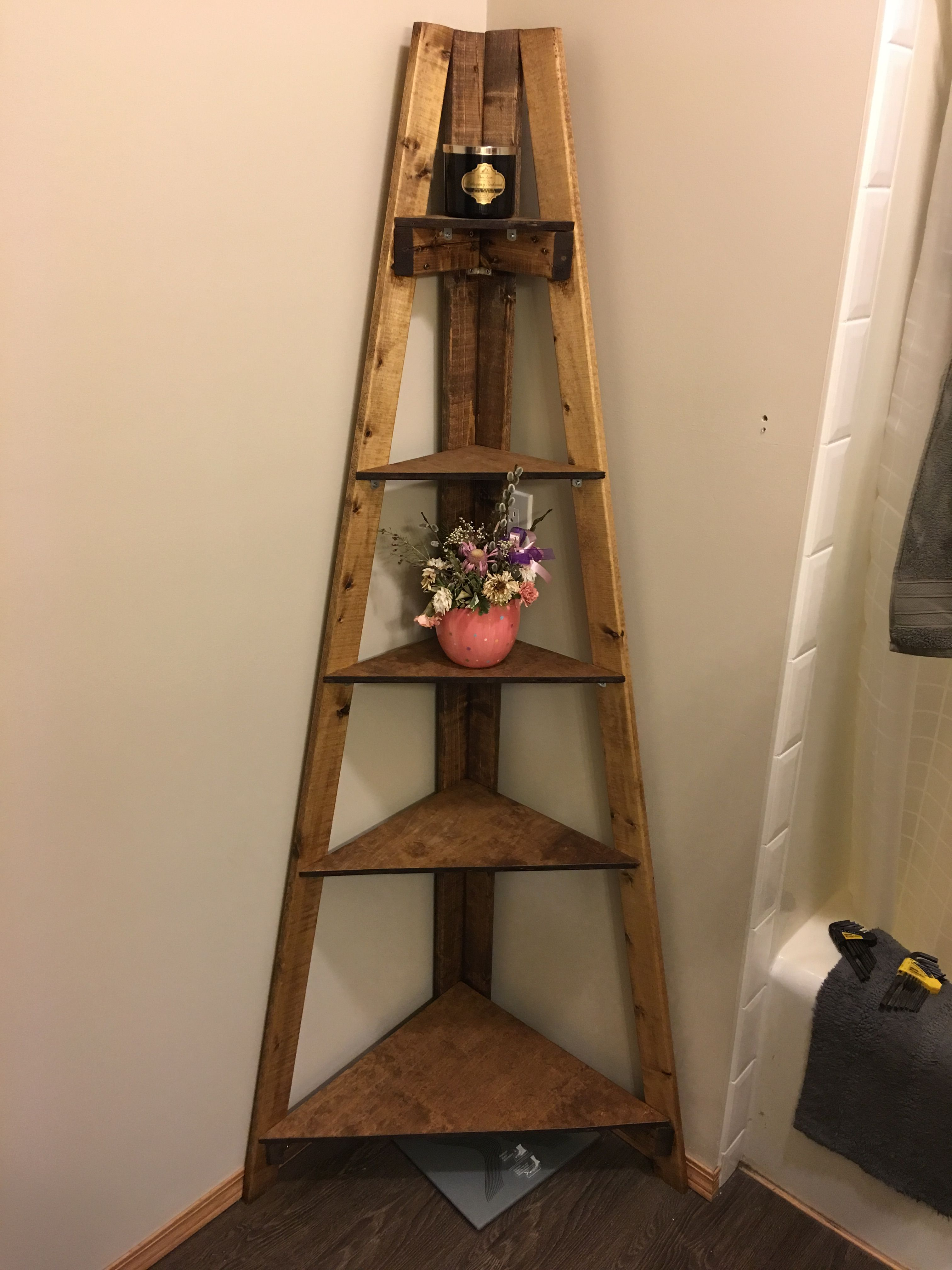 DIY bathroom corner ladder shelf
