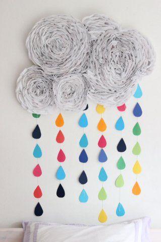Nube y lluvia de arco iris para decorar ideas para - Manualidades decoracion infantil ...