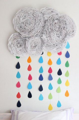Nube y lluvia de arco iris para decorar ideas para for Manualidades decoracion infantil