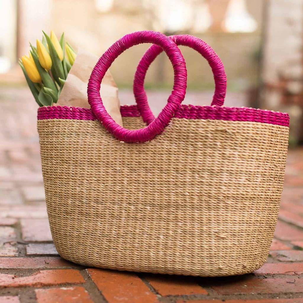 Oval Pink Rim Bolga Shopping Basket