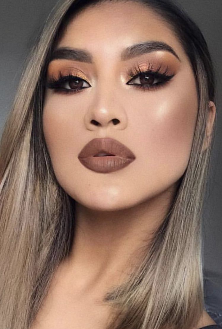 Dark Lips With Brown Orange Bronze Brown Lipstick Makeup