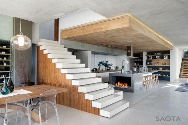 modernes haus holz abgehängte decke weiße treppen | abgehängte, Wohnzimmer