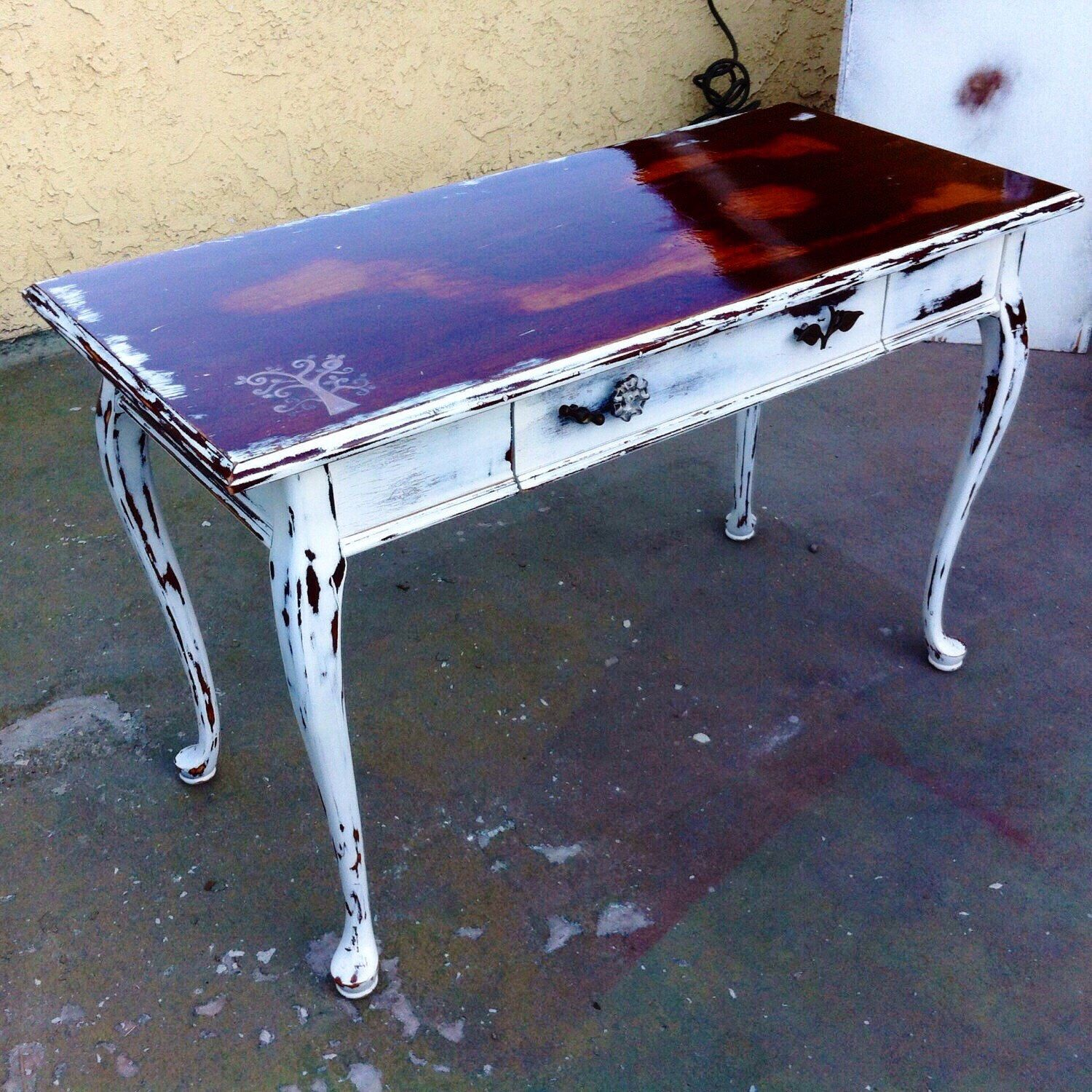 SOLD   Antique Desk, White, Shabby Chic, Sofa Table, Vintage Entryway Table