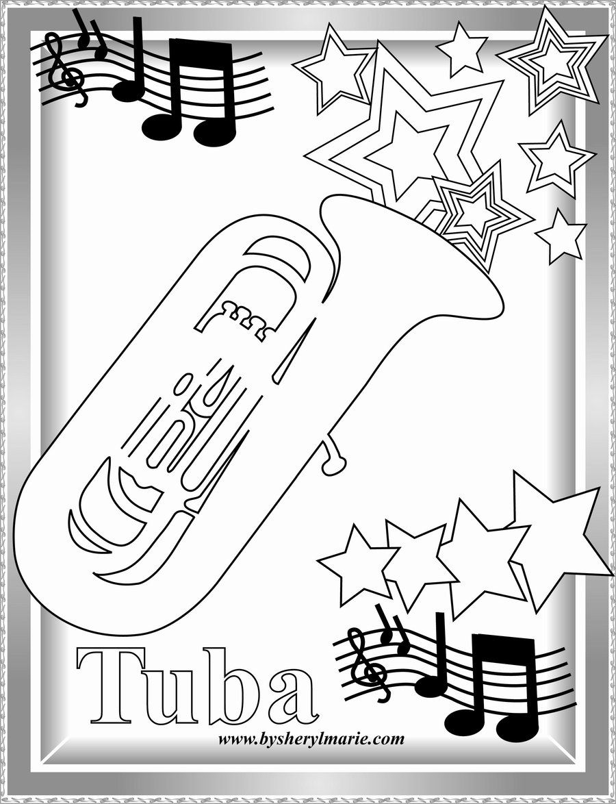 New tuba by SherylMarie Coloring pages for boys, Tuba