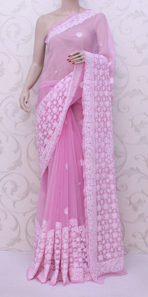Lucknowi chikan saree saree blouse pattern pinterest for Indische regale
