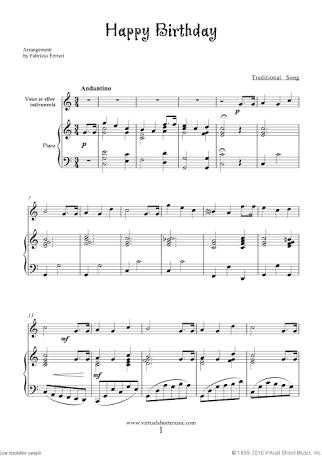 Hasil Gambar Untuk Free Download Piano Sheet Music Happy Birthday I Pdf Musique Classique Musique Anniversaire