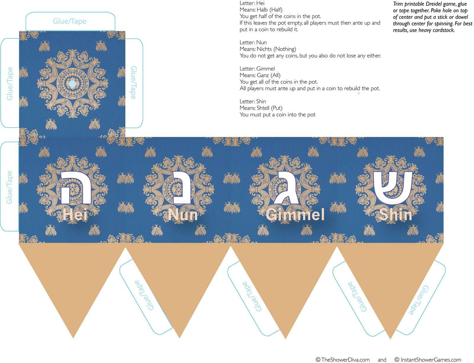 Free Printable Dreidel Pattern For Dreidel Paper Game - The