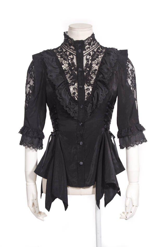 caf65a9dae1ca Details about RQ-BL Bluse Schwarz Gothic Lolita Rose Vintage ...
