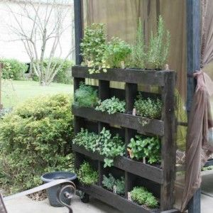 Small Space Herb Garden Ideas free standing vertical pallet herb garden Small Space Gardening Ideas