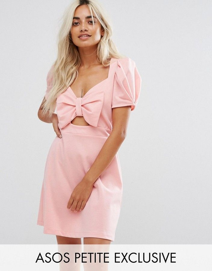 ASOS Petite ASOS PETITE Skater Dress with Bow Detail and Puff ...