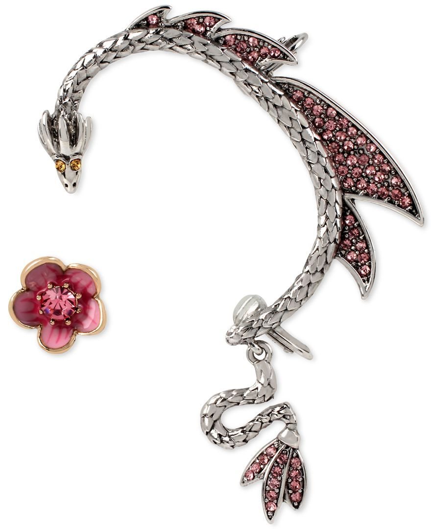 Betsey Johnson Twotone Flower Stud And Pave Dragon Ear Cuff Set