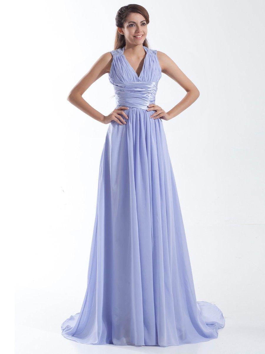 Chiffon V-neck Beading Sleevesless A-line Prom Dress at nextdress.co ...