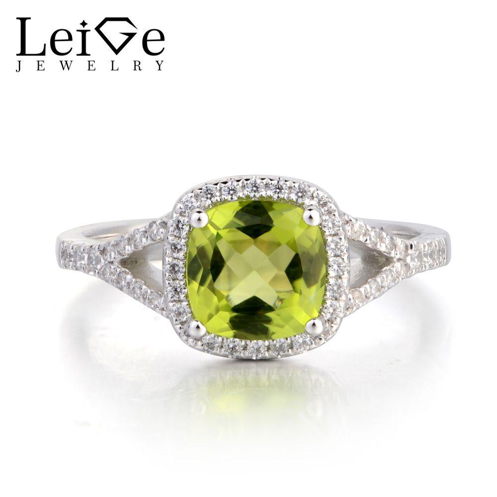 Natural Peridot Engagement Rings Cushion Cut Green Gems Rings Sterling Silver Rings August Birthstone