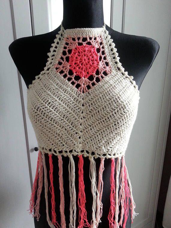 Crochet Halter Top Hippie Boho Print Lace Bikini Top Beautiful