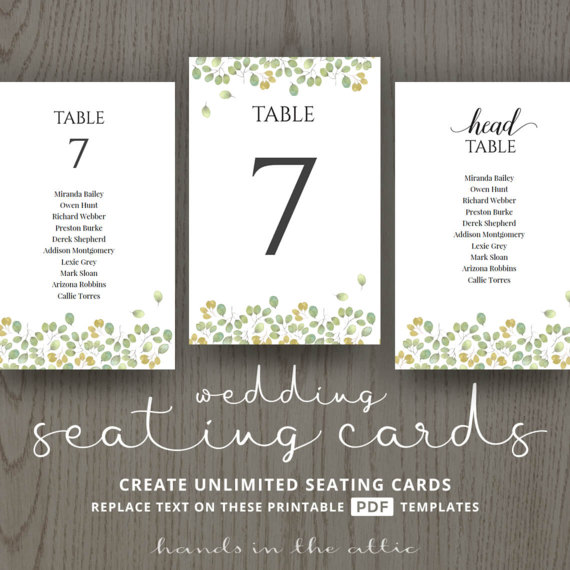 wedding guest table seating template