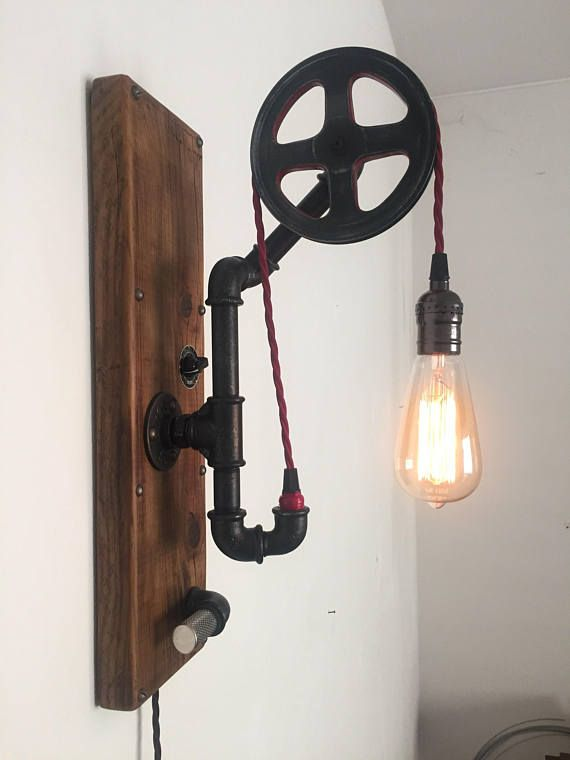 Industrial Light Fixture With Pulley System Made From Vintage Wall Plumbing Pipes And Old Wood Red Fabric Braid Cord