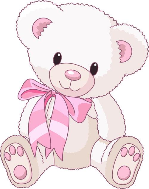 Cute animal teddy bear. Baby girl clip art