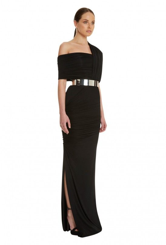 Drazma One Shoulder Maxi Dress Black Aqaq Shop A Holic