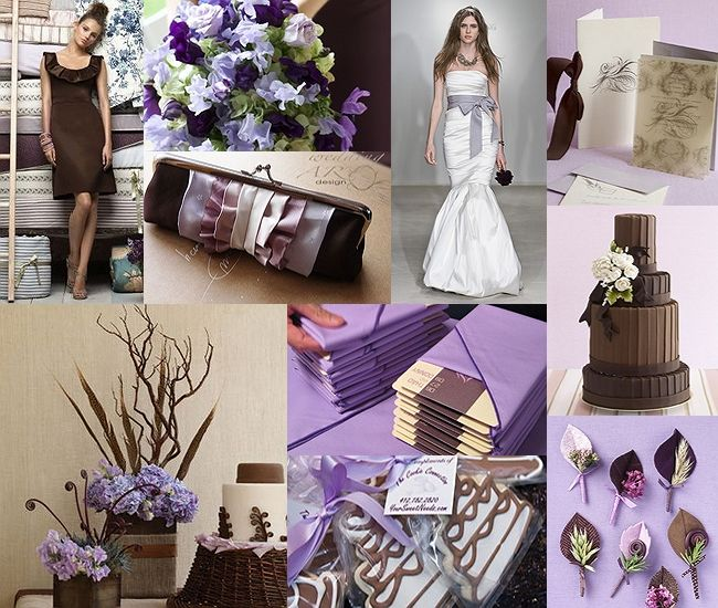 Chocolate Brown And Lilac Purple Wedding Love The Boutineres In Bottom Right Hand Corner