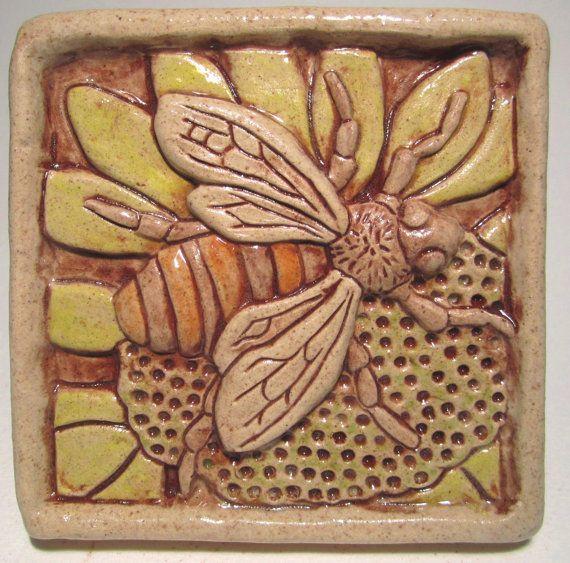 Honey Bee Ceramic Art Tile Multi By Gianar On Etsy