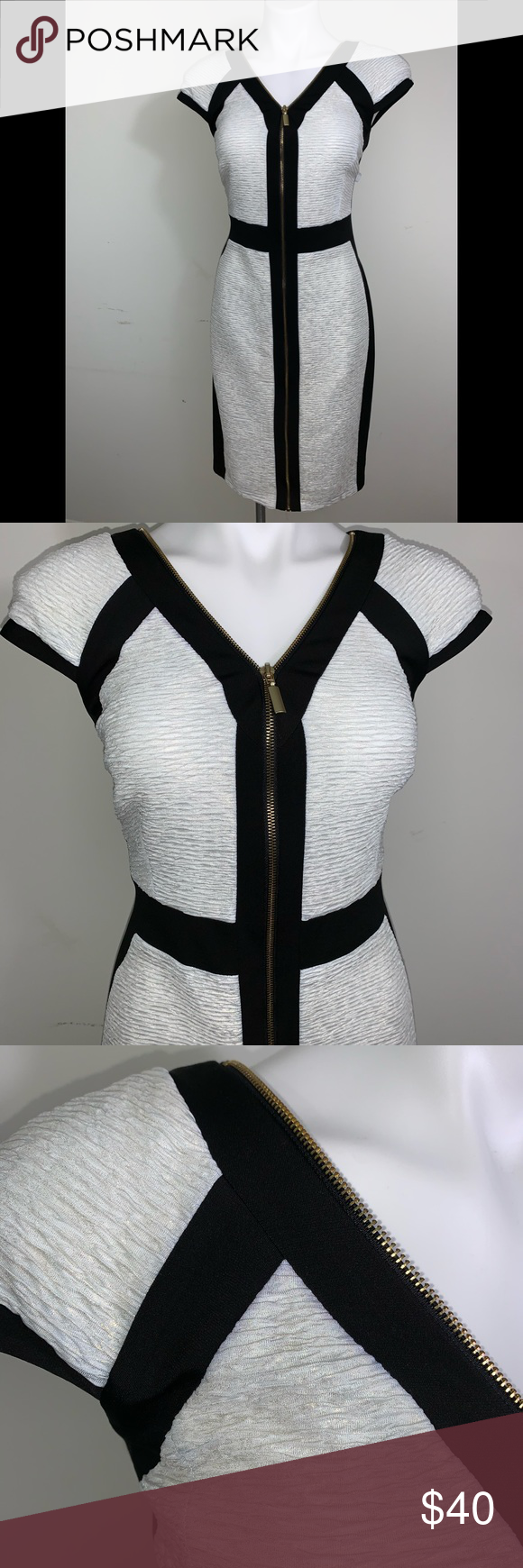 Two Tone Black And Cream Dress Cream And Black Dress With Zip Front With A Gold Shimmer Through Out Dress Stretchy Kni Cream Dress Dresses Dress Barn Dresses [ 1740 x 580 Pixel ]