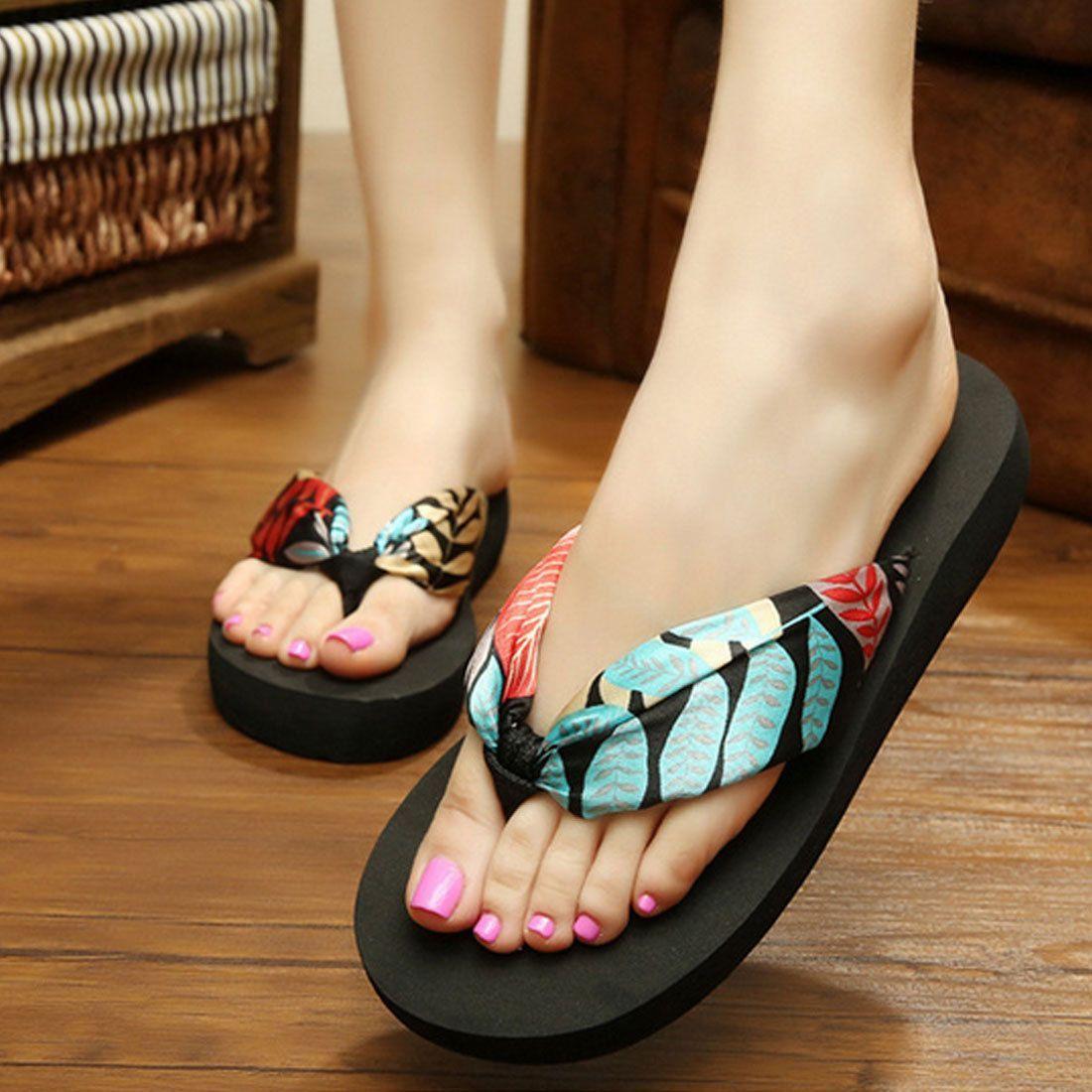 Womens Summer Casual Flip Flops Shoes Beach Slippers W Silk