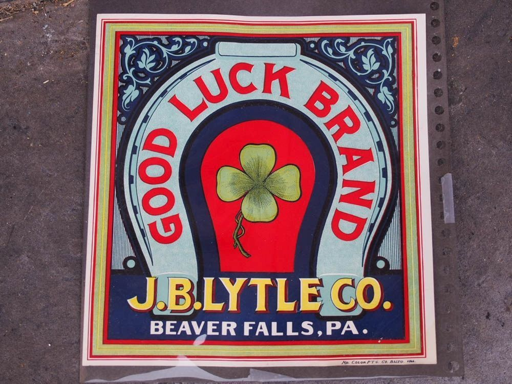Paper crate advertising label new old stock jb lytle of