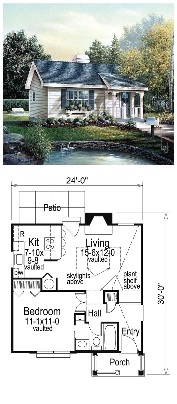 House Plan 86955 Total Living Area 576 Sq Ft 1 Bedroom