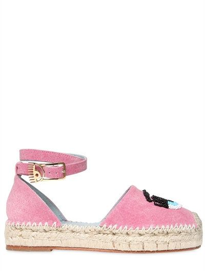 adf93ca9581 CHIARA FERRAGNI 30MM FLIRTING EYE DENIM ESPADRILLES