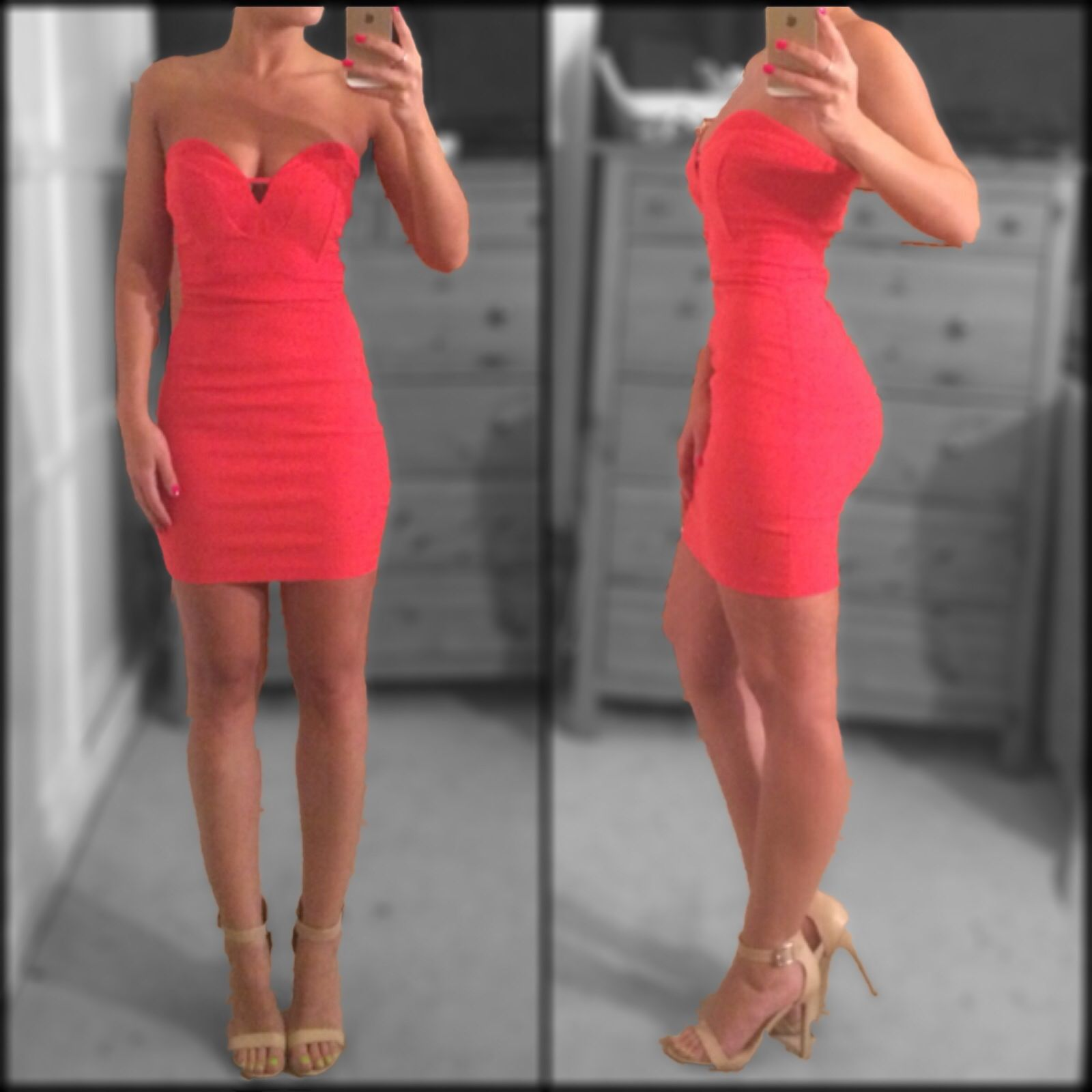 coral strapless party dress and nude two strap heels
