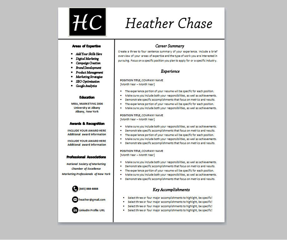 Resume Design Template Instant Download (Heather Chase