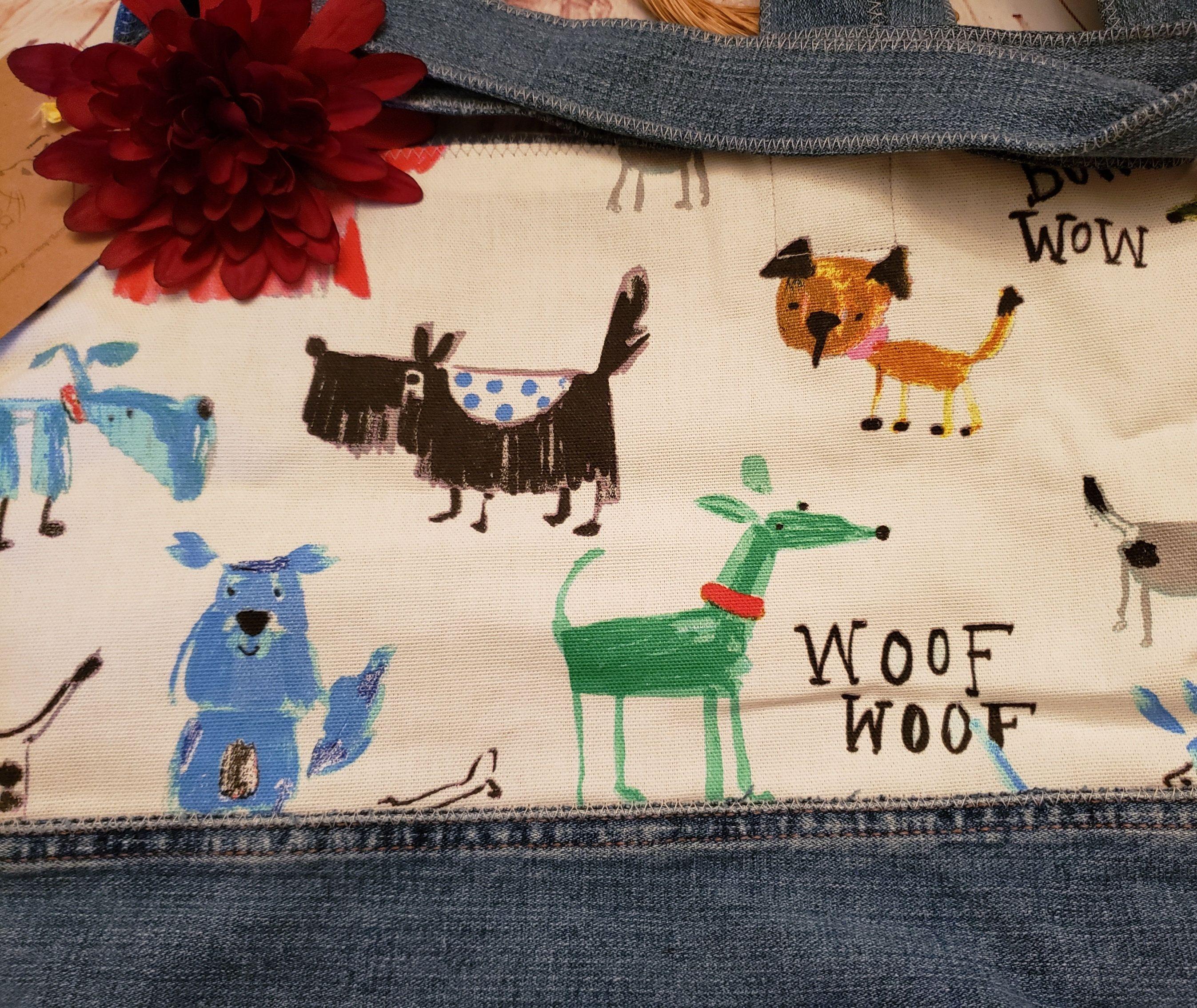 Denim Dog Lovers Tote, Beach Bag, Vacation Bag, Diaper Bag, College Book Bag, Weekender Bag, Denim Tote, Canvas Bag, Dog Lovers, USA Made