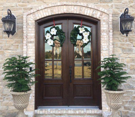 Photo of French Door Front Door Magnolia Wreath #doublefrontentrydoors French Door Front …