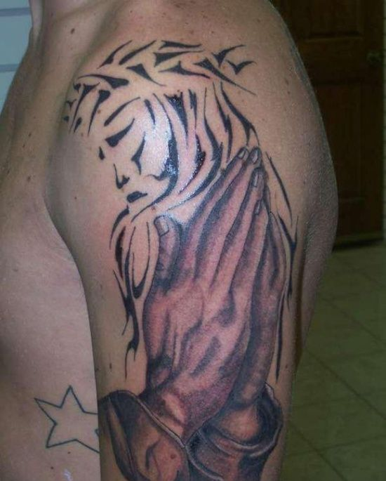 The Tribal Jesus Tattoo Designs And Meaning For Men On Sleeve Jesus Tattoo Jesus Tattoo Design Tattoo Designs Men