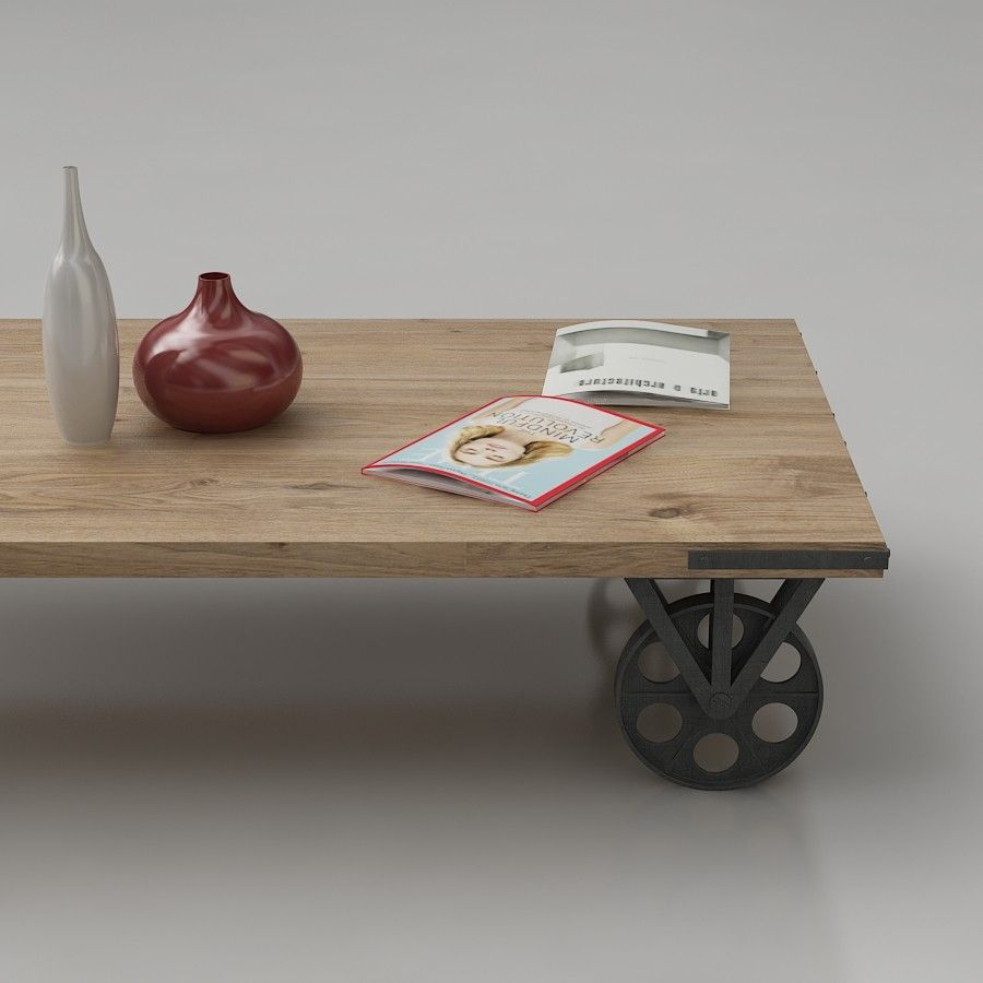 - Coffee Table With Wheels 3d Model. Rustic Wheeled Coffee Table 3d