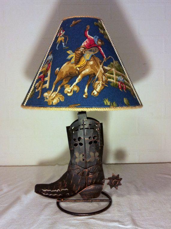 Cowboy Boot Lamp Fabric Shades Handmade Lampshades Cowboy Theme
