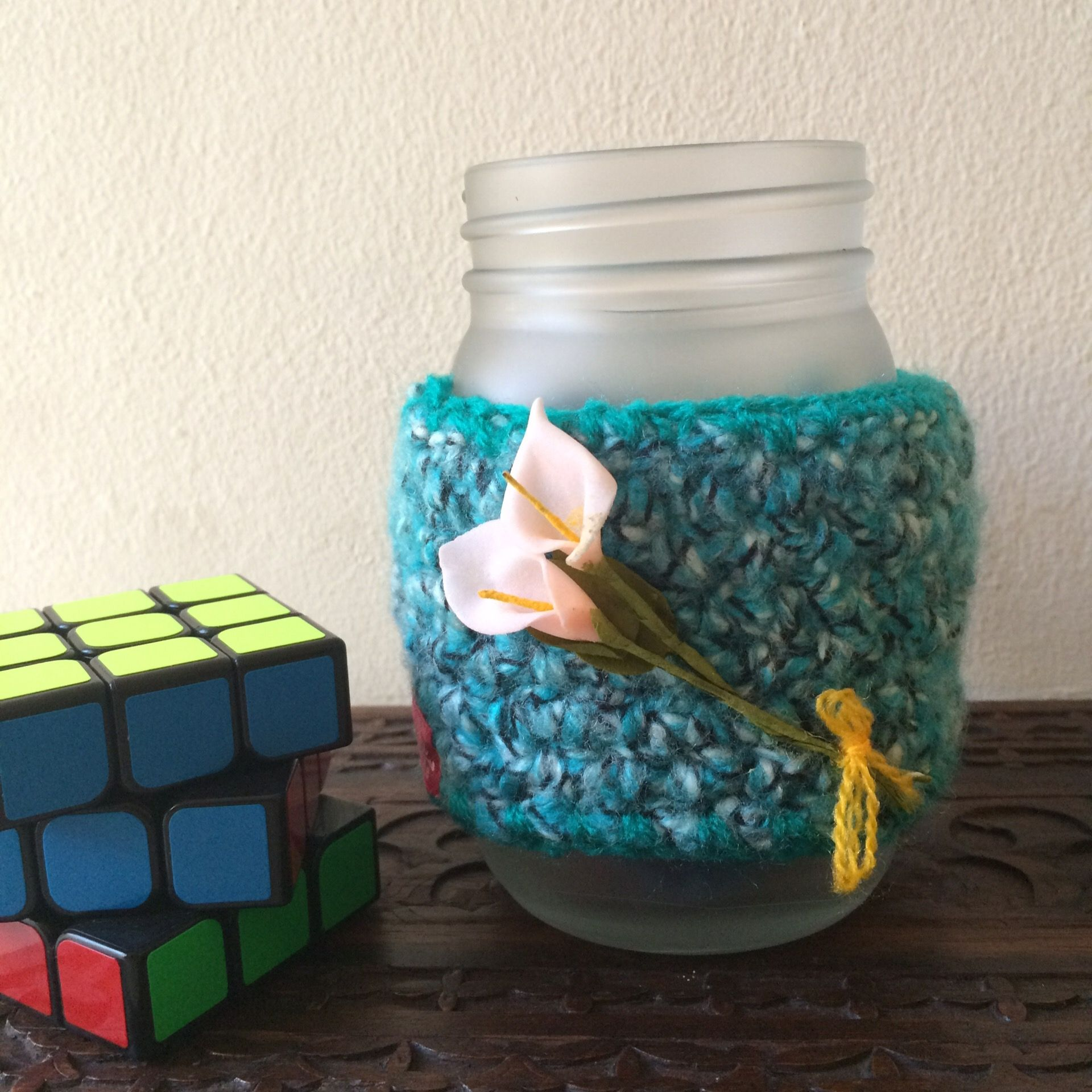 Drinking jar, free crochet