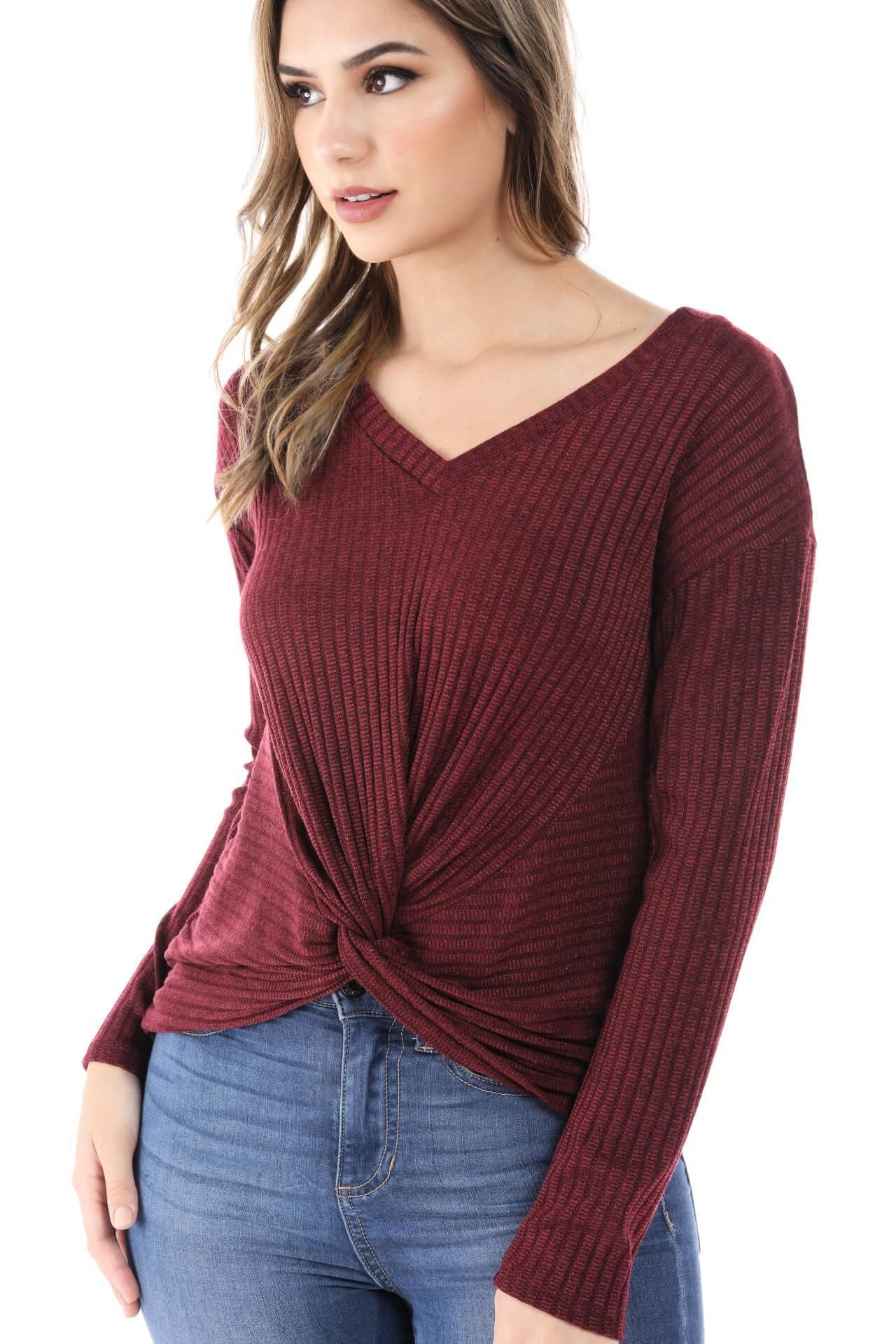 6323e702c7 Salt Tree Women's Ribbed V-Neck Lightweight Ruched Front Long Sleeve Top  Tree Woman,
