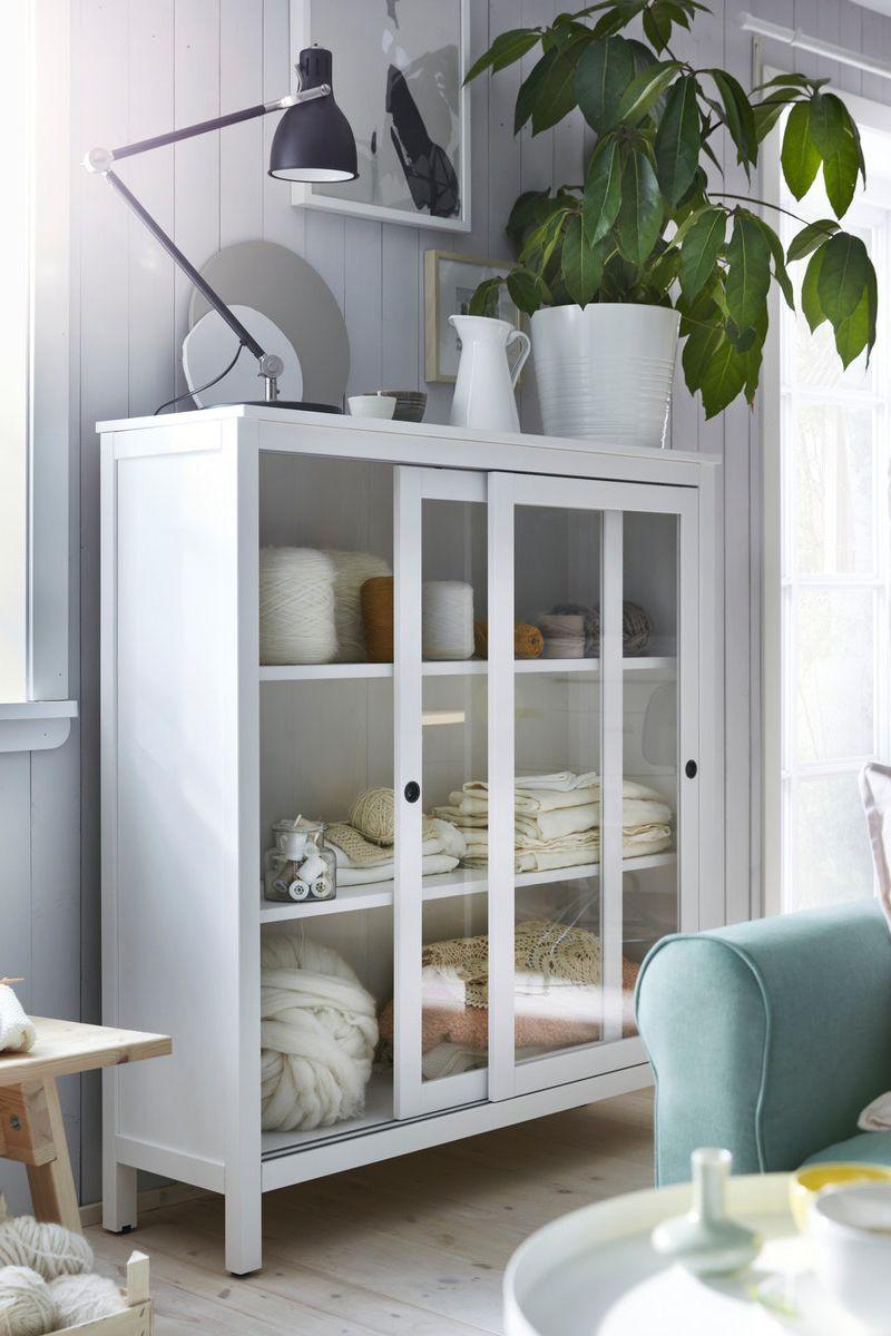 Hemnes Vitrine Weiss Gebeizt Little Ikea House Ideas In