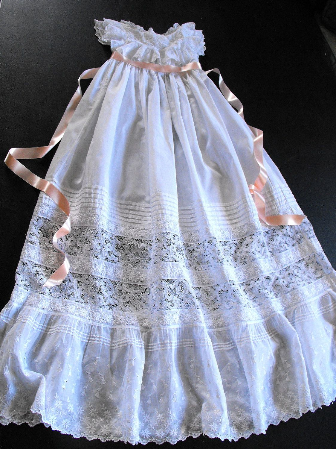 Vintage Victorian Christening Gown English With Embroidery